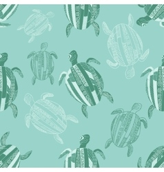 Seamless pattern with stylized turtles Turquoise vector