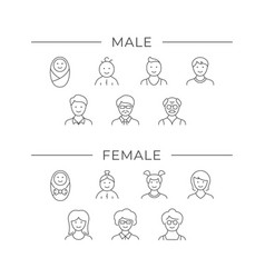 Set line icons people age vector