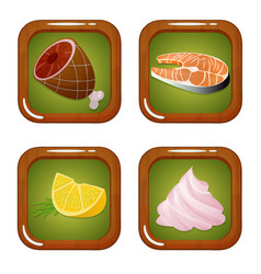 set of food icons with meat fish lemon vector image