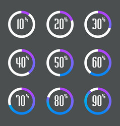 set percentage diagrams vector image