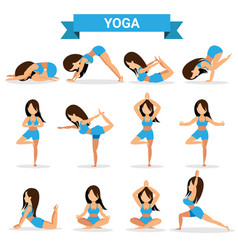 set yoga positions design vector image