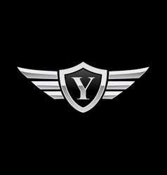 shield initial letter y wing icon logo vector image