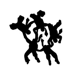 silhouette business people parachute team in the vector image