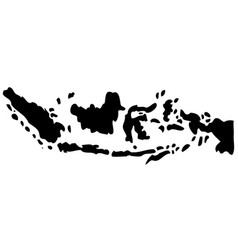 silhouette map indonesia isolated on white vector image
