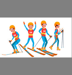 Skiing male player slope competition vector