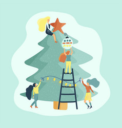 small girl characters decorate christmas tree vector image