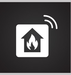 smart fire alarm system icon on white background vector image