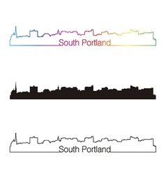 South Portland skyline linear style with rainbow vector