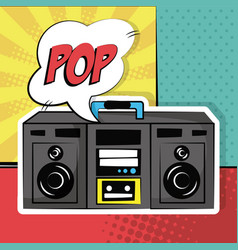 stereo radio sound bubble speech pop art vintage vector image