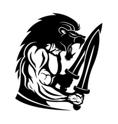 Strong warrior with a lion head vector