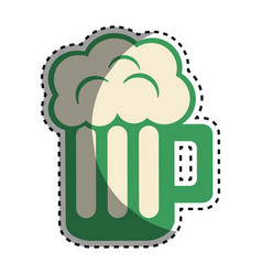 Tasty beer with froth celebration vector