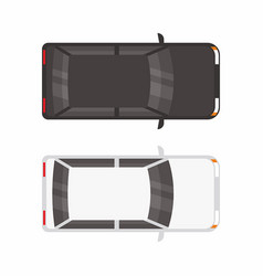 Top view two hatchback car vector