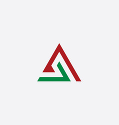triangle a letter logo green red icon symbol vector image