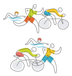Triathlon race line art vector