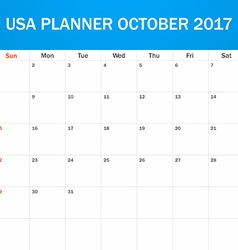 USA Planner blank for October 2017 Scheduler vector