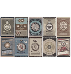 vintage colored nautical brochures set vector image