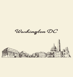 washington dc skyline usa vintage engraved drawn vector image