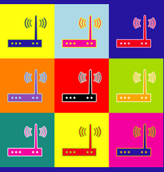 Wifi modem sign pop-art style colorful vector