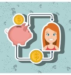 woman cartoon piggy currency money vector image