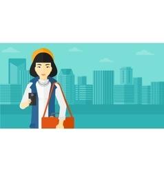 Woman using smartphone vector image