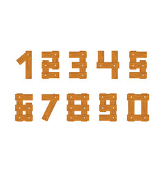 Wooden numbers set vector