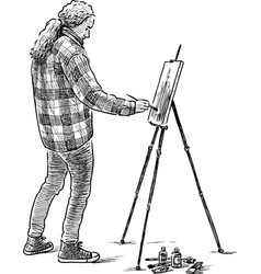 Young painter at work vector