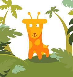giraffe in forest vector image vector image