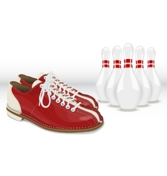 Red-White Skittles and Bowling shoes vector image
