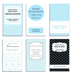 Set of cute cards with dots theme design vector