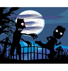 zombie attacks at night vector image vector image