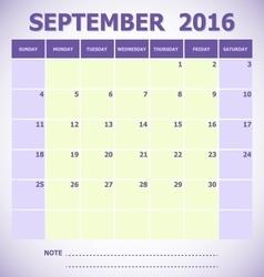 Calendar September 2016 week starts Sunday vector image vector image