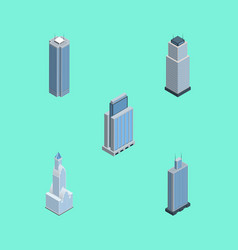 Isometric skyscraper set of business center urban vector
