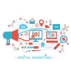 online digital marketing and social network media vector image vector image