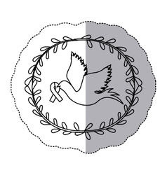 sticker arch of leaves with silhouette pigeon wiht vector image vector image