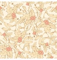 Vintage Mistletoe Holly Berries Seamless vector image