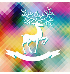 Abstract color Xmas Background with deer vector image vector image