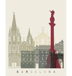Barcelona skyline poster vector image vector image