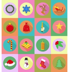 christmas and new year flat icons 19 vector image vector image