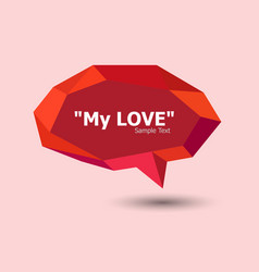 red polygonal geometric speech bubble vector image vector image