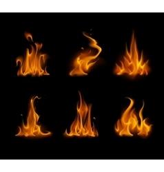 Set of Yellow Orange Fire Bonfire on Background vector image vector image
