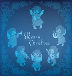 Singing angel ornamental coner Christmas vector image