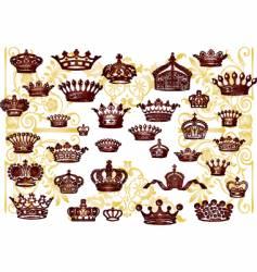 vintage crown set vector image