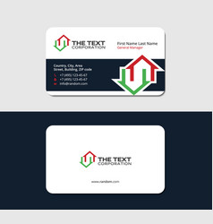 Business card with two red and green houses vector
