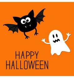 Cute cartoon bat and ghost happy halloween card vector