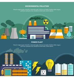 Environmemtal pollution and power plant banner vector