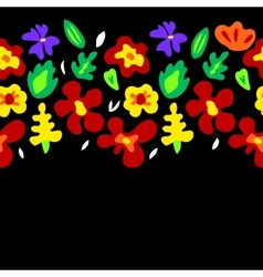 Large colorful flowers on black horizontal vector image