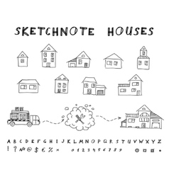 Sketchnote houses vector image vector image