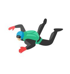 Skydiver man parachutist extreme sport freedom vector