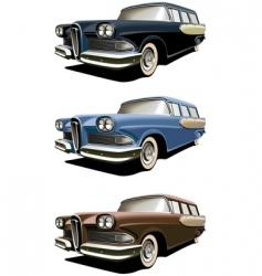 vintage station-wagons vector image vector image
