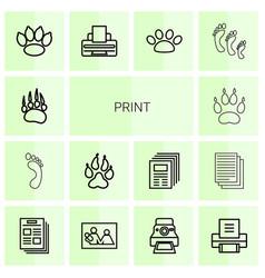 14 print icons vector